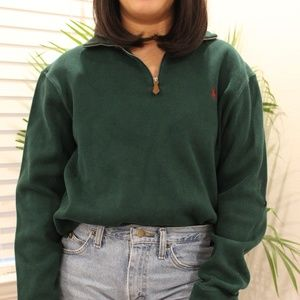 L Vintage Green Polo Pullover